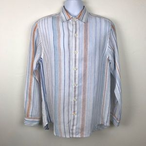 🌴 TOMMY BAHAMA Relax 100% Linen Striped Shirt S